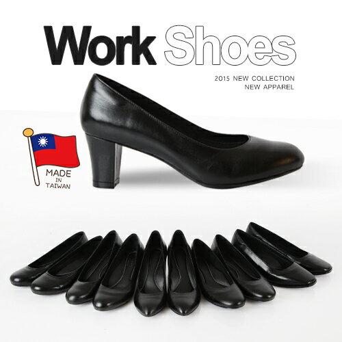 BONJOUR☆357氣墊高跟鞋☆可彎曲OL空姐靜音職場平底鞋(羊皮製)Work Shoes C.【ZB0247】黑