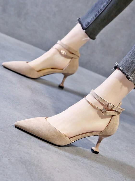 春新款一字扣帶包頭涼鞋女法式少女尖頭仙女風細跟性感高跟鞋 四季小屋