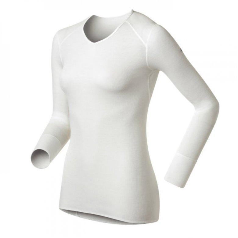 【【蘋果戶外】】odlo 190881 女V領 白『送polartec手套』瑞士 機能保暖型排汗內衣 衛生衣 發熱衣 保暖衣 長袖