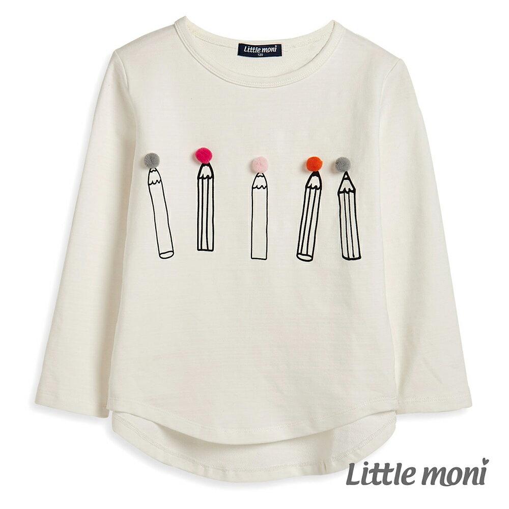 Little moni 立體毛球鉛筆印圖上衣-白色(好窩生活節) - 限時優惠好康折扣