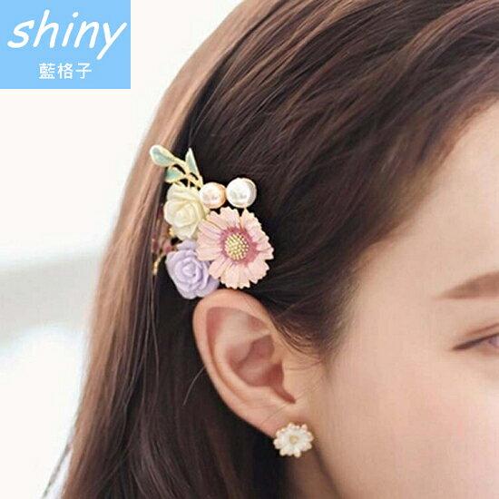 【DJB6408】shiny藍格子-玫瑰花朵珍珠樹葉髮夾