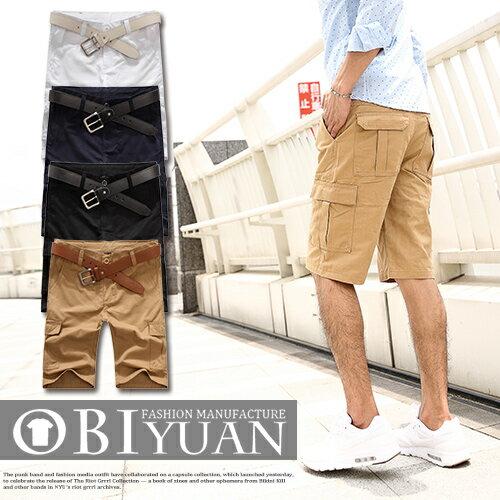 有加大尺碼短褲【T88865】OBI YUAN韓版素面側面大口袋工作褲共4色