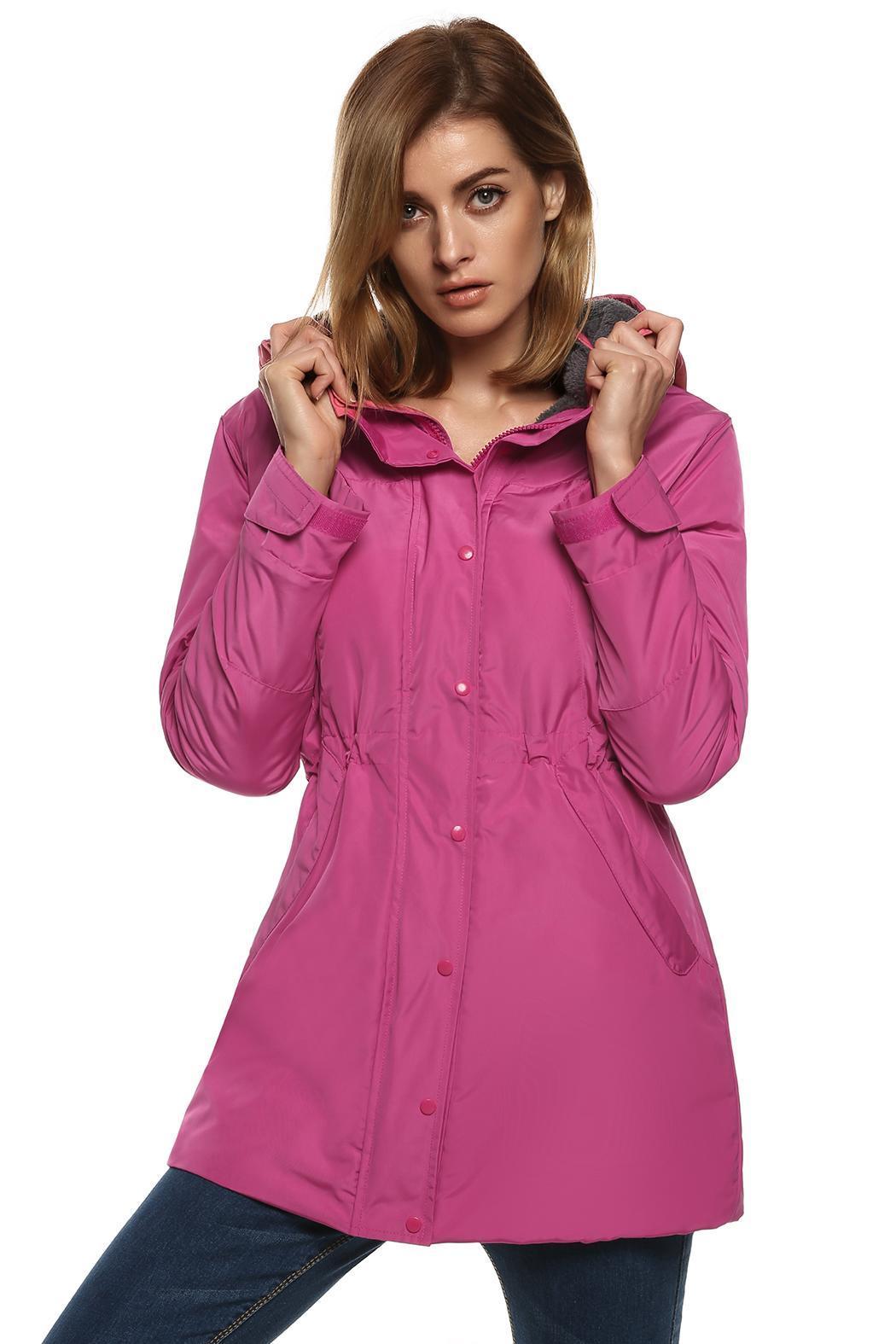 Women Casual Hooded Waterproof Windproof Long Coat Outwear 4