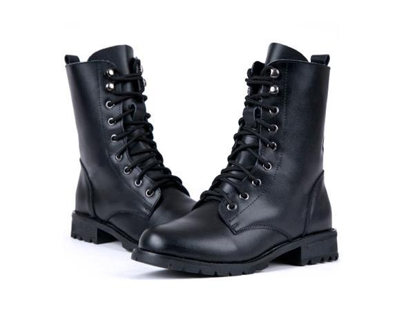 Women PUNK Military Army Knight Lace-up Short Boots Shoes 4