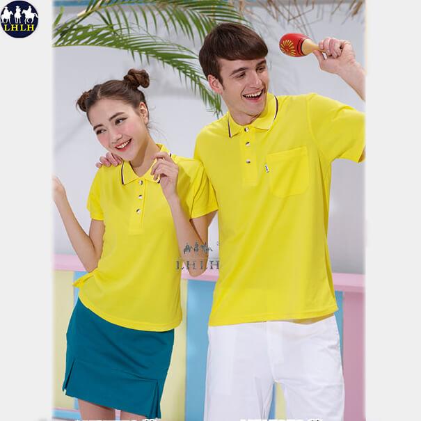 吸濕排汗衣 男 polo衫慢跑運動上衣短袖 黃色