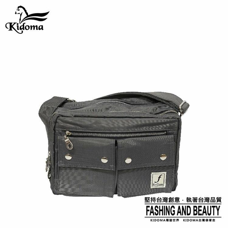 Kidoma型男雙口袋夾層斜肩包-灰色 Porter風 尼龍包 側背包 郵差包 FRB538