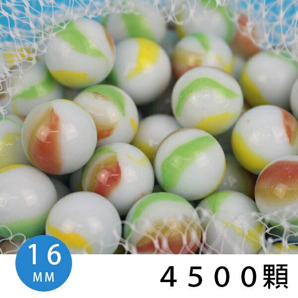 16mm牛奶彩花玻璃珠25kg白色帶花色玻璃彈珠一袋25公斤(約4500顆入){促2400}散裝玻璃珠~錸