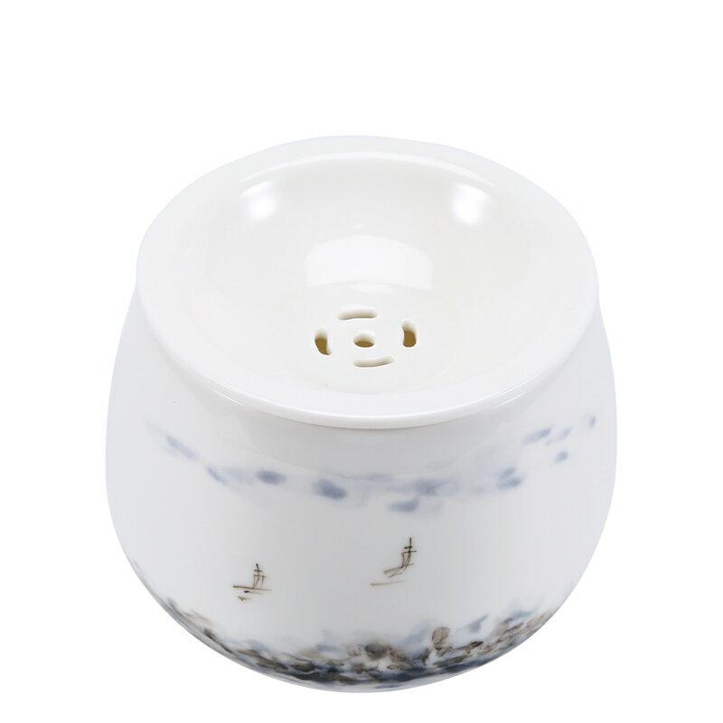 晟窯手繪建水羊脂玉白瓷水盂手工日式陶瓷家用杯洗茶渣缸茶具配件