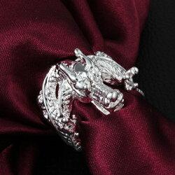 ☆925純銀戒指 銀飾-龍頭造型帥氣個性流行男配件73at126【獨家進口】【米蘭精品】
