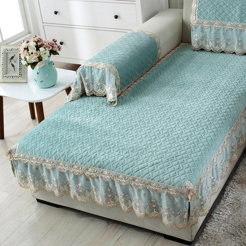 沙發罩 歐式毛絨沙發墊冬季加厚簡約現代防滑坐墊客廳全包布藝沙發套定做『XY14975』