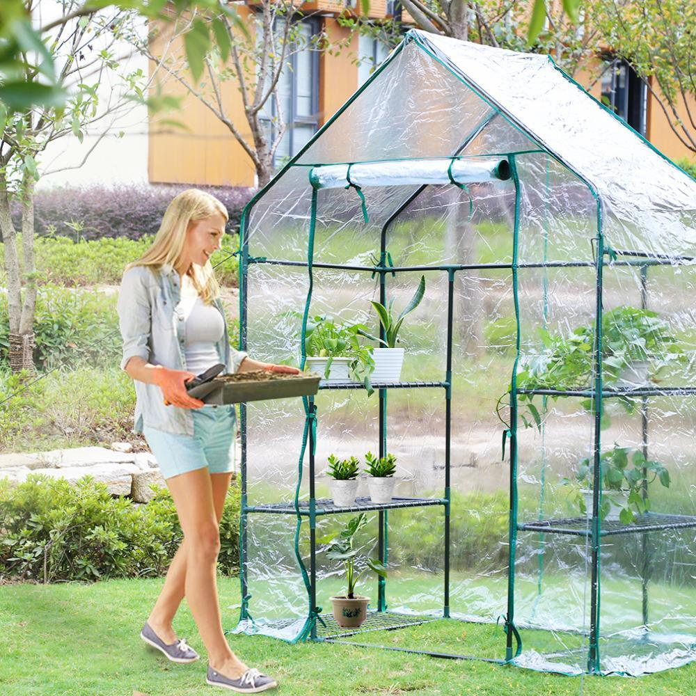 Portable Mini Greenhouse Outdoor Plant Shelves Canopy Winter Walk In Green  House 1