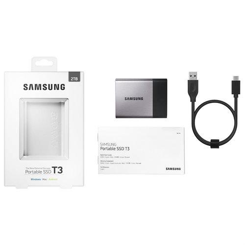 """Samsung T3 Portable 2TB SSD 2.0TB USB 3.1 External Solid State Drive MU-PT2T0B + 2.5"""" SSD case 2"""