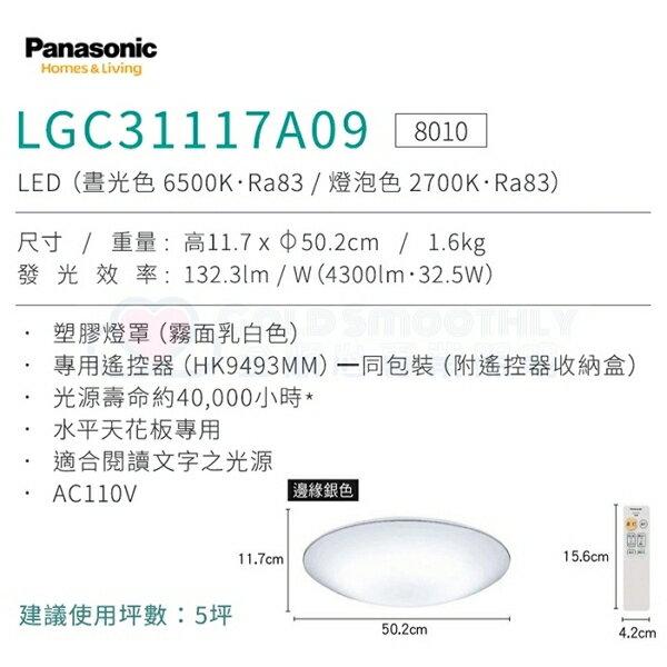 ☼金順心☼專業照明~原廠保固 Panasonic 國際牌 LED 32.5W 遙控吸頂燈 LGC31117A09 銀線