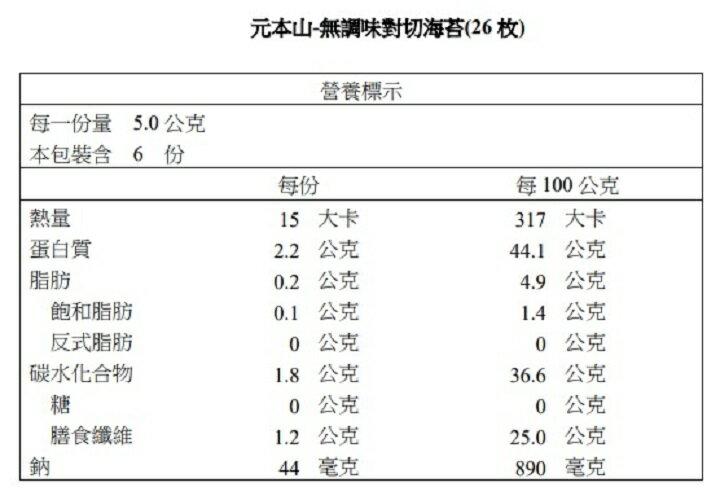 【元本山】對切海苔-無調味(26枚)
