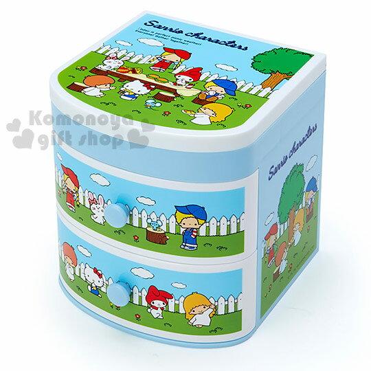 〔小禮堂〕Sanrio大集合桌上型雙抽置物櫃《藍.花園》Sanrio70年代人物系列