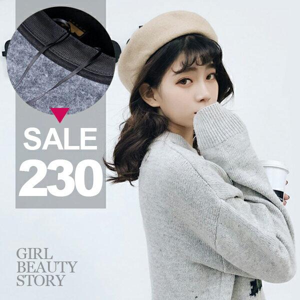 SiSi Girl:SISI【A8003】氣質可愛百搭羊毛純色貝雷帽冬天保暖針織羊毛呢帽