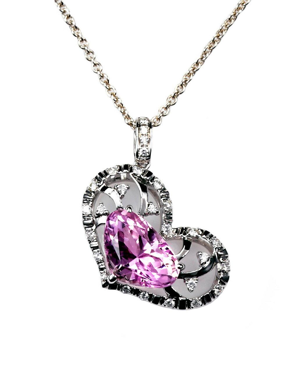 ~樂采珠寶~14k白金 星戀-紫鋰輝珠寶項鍊.