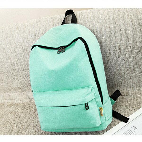 日系簡約時尚純色帆布後背包 -017純真年代-寶來小舖-現貨販售