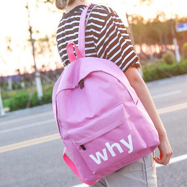 後背包-新款韓版素色英文尼龍後背包 共5色 0909# 寶來小舖-現貨販售