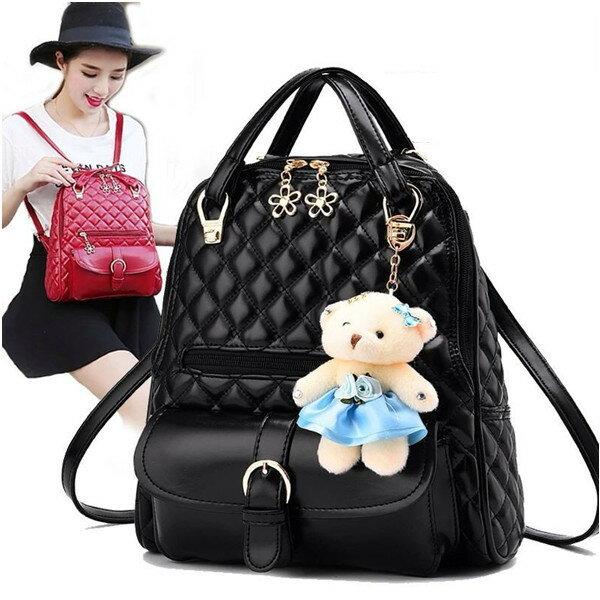 後背包-優質時尚菱格小熊掛飾後背包 共4色-寶來小舖bolai -1111菱格熊-現貨販售