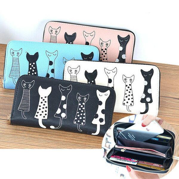 長夾-新款五隻小貓荔枝紋長皮夾 手機錢包-寶來小舖DL921-現貨販售