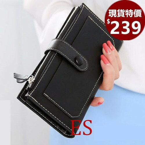 皮夾-現貨販售-韓版拉鍊復古鈕釦長皮夾 手機錢包-P934-寶來小舖