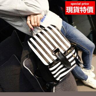 (現貨 附發票)後背包 時尚束口條紋流蘇磁扣後背包 共2色(A825系列) /寶來小舖
