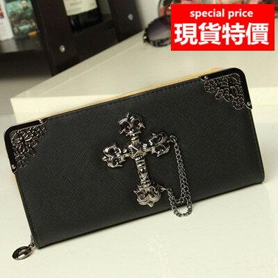 (現貨 附發票)長夾 巴洛克風十字架大容量拉鍊皮夾 手機錢包 共5色(A829系列)/寶來小舖