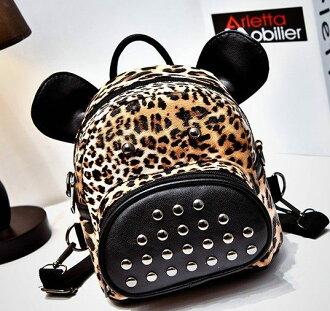 後背包-韓版可愛鉚釘小斑馬豹紋多功能包包-可當後背包、側背包-banma88-寶來小舖
