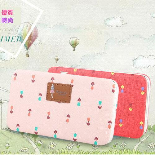 皮夾-可愛女孩大容量硬殼長夾 手機錢包手拿包  - 寶來小舖 (現貨販售)-N1316