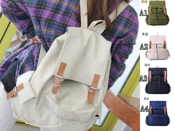 (現貨 附發票)後背包.側背包.書包.旅行包【中性質感大容量皮帶釦英倫束口後背包】寶來小舖