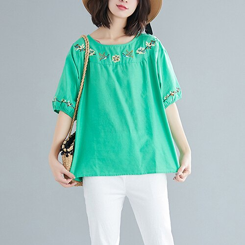 圓領刺繡棉麻大碼短袖T恤(5色L~XL)【OREAD】 4