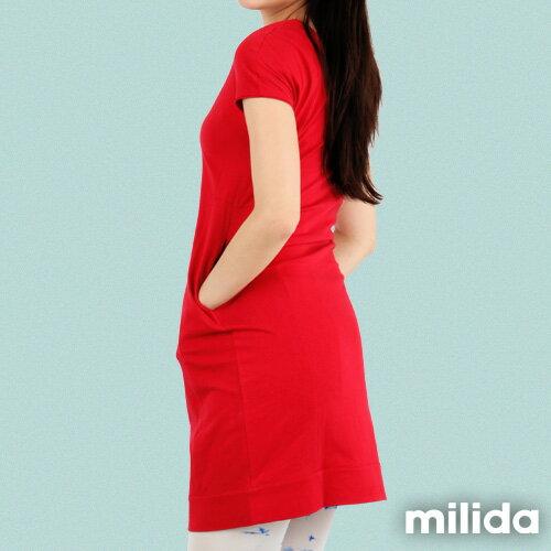 【Milida,全店七折免運】-早春商品-素色款-簡約休閒口袋洋裝 2