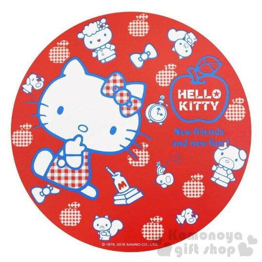 〔小禮堂〕Hello Kitty 圓形木製隔熱墊《M.紅.側坐.朋友.蘋果.牛奶》可隔熱又環保兩相宜