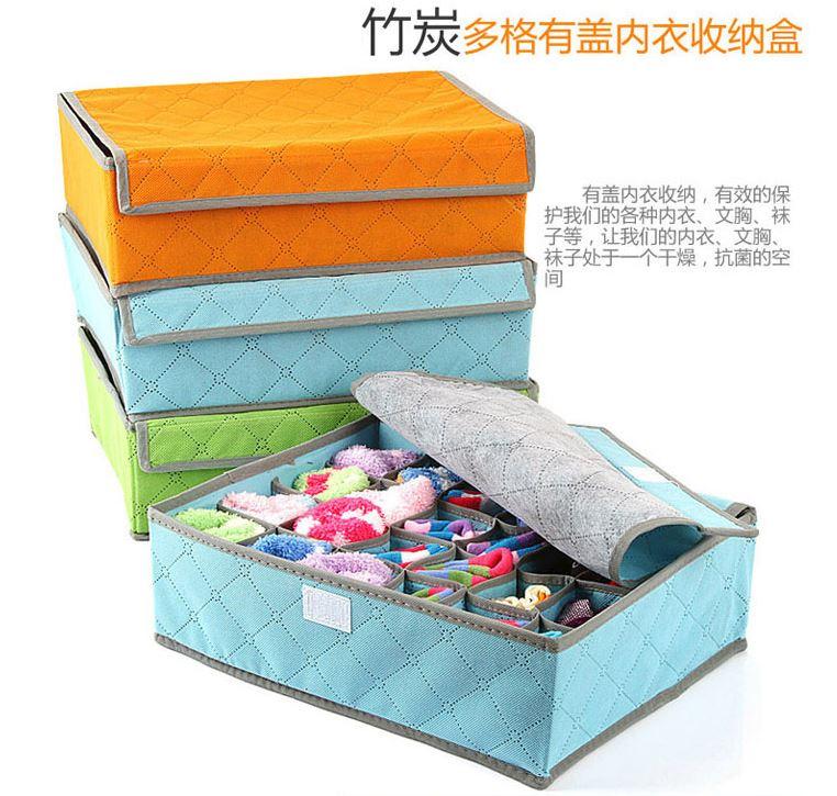 【省錢博士】隨機出貨 / 彩色竹炭24格收納盒軟蓋儲物袋 / 防塵防潮衣物整理箱 79元