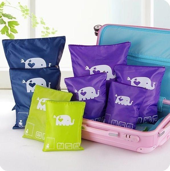?MY COLOR?大象圖案拉鏈收納袋 出差旅行衣服收納袋 整理袋 行李箱衣物分類整理袋【S04-2】