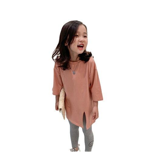 女童糖果色開岔百搭 七分袖上衣 長版上衣 素色上衣 上衣 女童 橘魔法 現貨 童裝【p0061214417665】 1