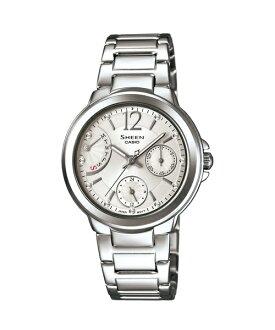 CASIO SHEEN SHE-3804D-7A環扇時尚腕錶/銀色面33mm