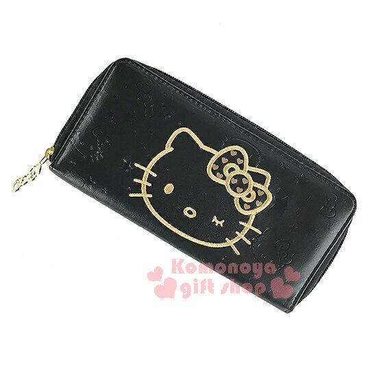 〔小禮堂〕Hello Kitty 皮革長夾《黑.大臉.多壓紋設計》時尚黑金系列