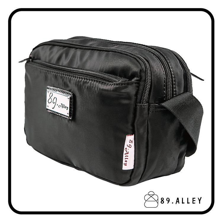 側背包 女包男包 黑色系防水包 輕量尼龍鐵牌雙層情侶斜背包 89.Alley 2