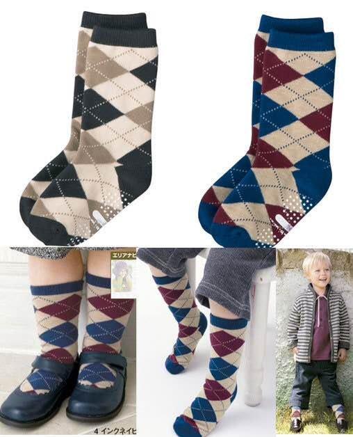 =優 = CO~BI 英倫風男童襪 格子兒童中筒襪 菱形圖案 男童棉質中筒襪 有防滑顆粒