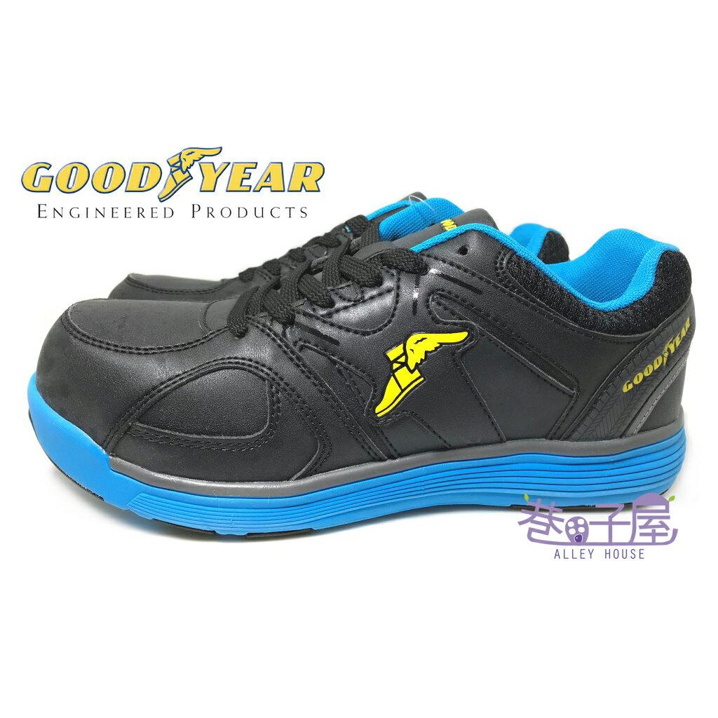 【巷子屋】GOODYEAR固特異 男款超寬楦高效防護鋼頭運動鞋 [63906] 黑藍 超值價$690
