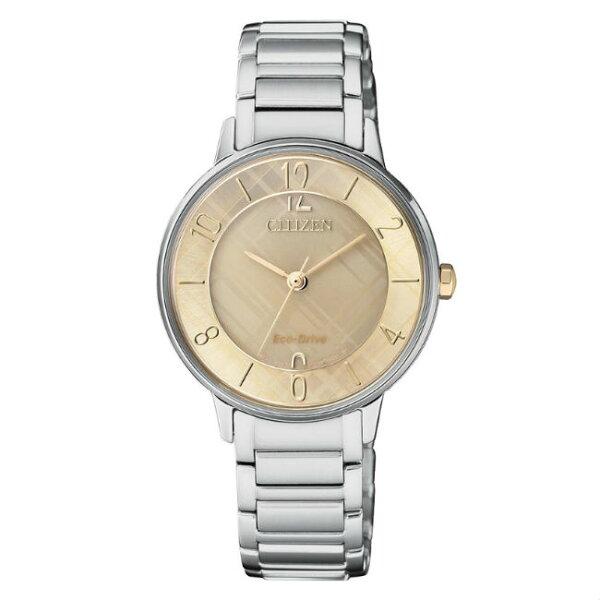 CITIZEN星辰錶EM0526-88X淑女時尚光動能腕錶香檳金面31mm