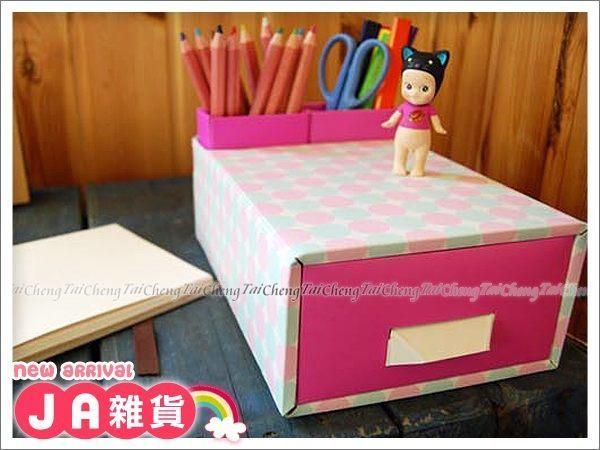 日本MAKINOU 桌面收納 韓國DIY粉彩雙格筆筒抽屜收納盒 日本牧野 文具 化妝整理 紙 JA雜貨