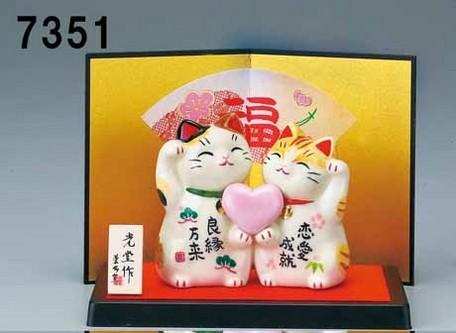 大賀屋 日貨 招財貓 雕像 戀愛 愛心 擺飾 擺件 裝飾 開運 招桃花 過年 新年 正版 J00018619