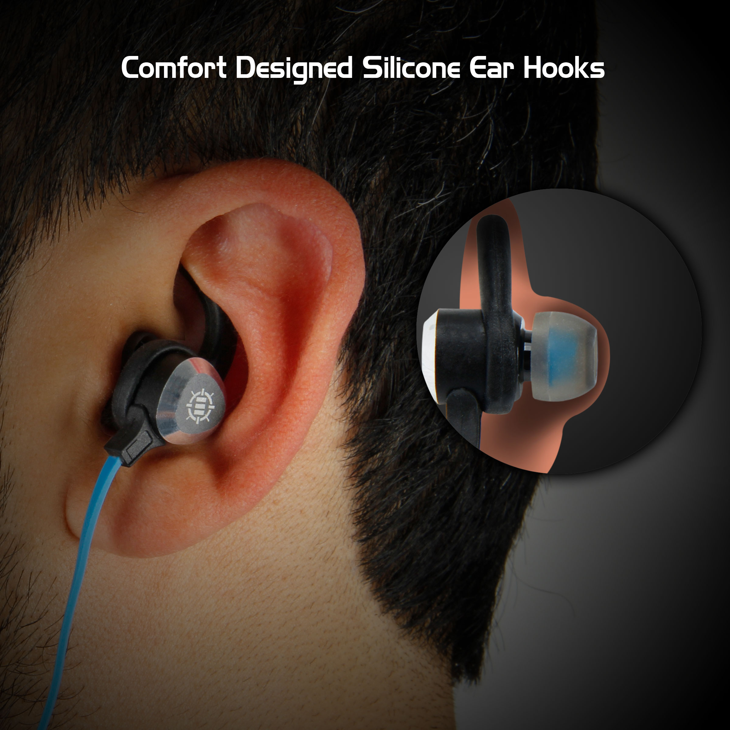 ENHANCE Gaming Earbuds with Vibration & Microphone for PC , PS4 , Xbox One & More - Comfort Ear Hook 3