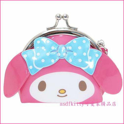 asdfkitty可愛家☆美樂蒂臉型雙珠扣零錢包-防水材質-可當印章袋-日本正版商品