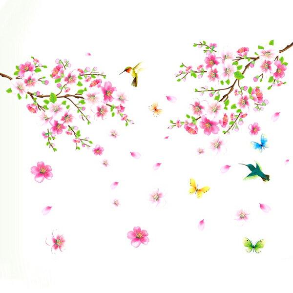 BO雜貨【YV4492-1】創意可移動壁貼背景貼居家裝飾時尚組合壁貼室內佈置桃花AY9158