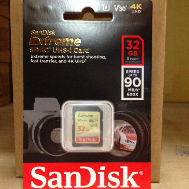 SanDisk Extreme SDXC UHS-1(V30) 記憶卡(公司貨) 90MB