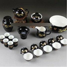 【功夫茶具套裝-黑釉金龍-骨質瓷-壺150ml海140ml杯33ml碗150ml-1套/組】高檔整套陶瓷茶具 瓷器(數量如圖,不含擺放的木座)-7501016